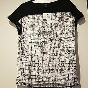NWT Calvin Klein Jeans Black & White Blouse Sz XL